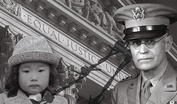"""This is a multi-layered promotional black and white image set in the early 1940s for the movie Alternative Facts. A Japanese American child and a Caucasian middle-aged American officer both stare into the camera. Their images have been taken from two separate photos and combined into one. Barbed wire is layered between them. The outside of the United States' Supreme Court Building is in the background, with the text """"Equal Justice Under"""" visible."""