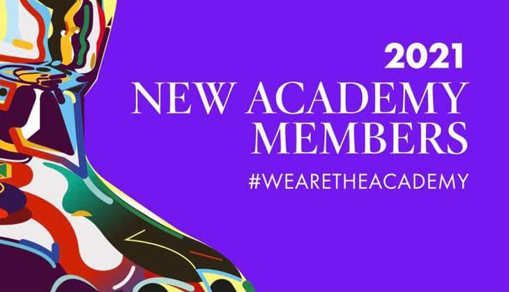 A shiny multi-colored academy award statute with the text: 2021 New Academy Members #WeAreTheAcademy