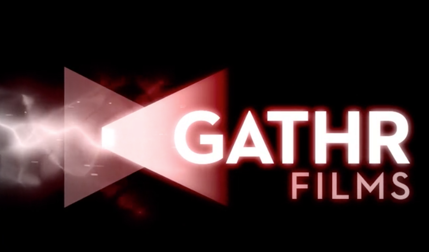 "Logo for Gathr Films. Against a black background, a row of white and red gradated triangles with a lightning bolt, and the words ""Gathr Films""."