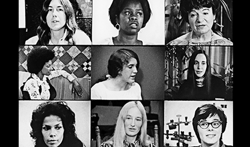 A black and white grid of nine women of differing ages and races from the film. Most look offscreen and like they're deep in thought.