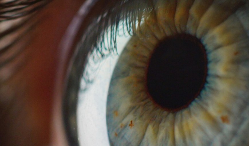 An extreme close up of a human eyeball with dark black pupil. Eyelashes are reflected on the white of the eye.